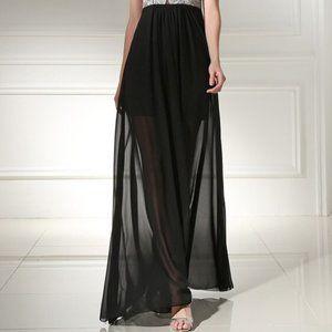 Lily White Black Chiffon/ Tulle Maxi Skirt